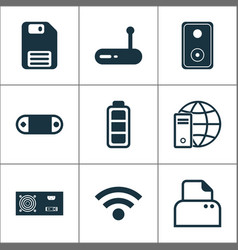 hardware icons set with modem floppy disk global vector image