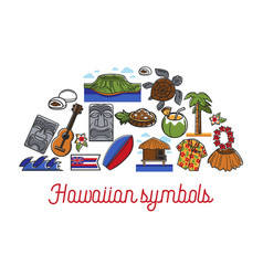 hawaiian symbols travel to hawaii traveling and vector image