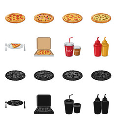 Isolated object of pizza and food logo set of vector