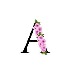 Letter a floral ornament vector