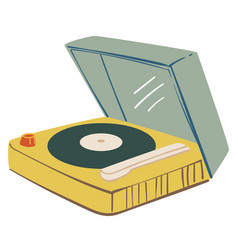 listening music on vinyl plate with player vector image