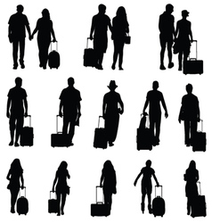 man and woman with travel bag black silhouette vector image