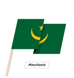 Mauritania ribbon waving flag isolated on white vector