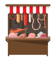 meat street market meat store stall vector image