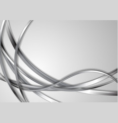 Metallic silver abstract waves on grey background vector