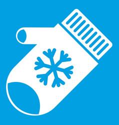 Mitten with snowflake icon white vector