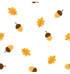 Pattern with acorns and leaves vector