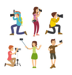photographer taking pictures with different poses vector image
