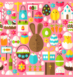 Pink easter seamless pattern vector