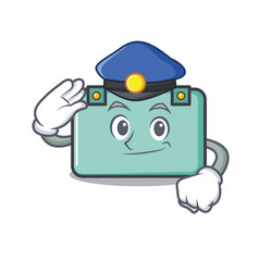 Police suitcase character cartoon style vector