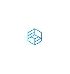 polygon line geometry logo vector image