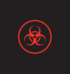 Red biohazard symbol on black background vector
