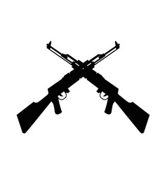 Rifles weapons crossed silhouettes isolated icons vector