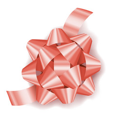 Rose gold pink realistic gift bow with ribbon vector