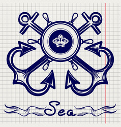 royal fleet emblem on notebook page vector image
