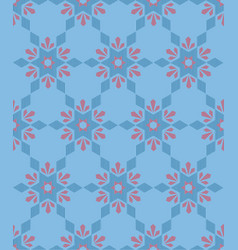 Seamless geometric pattern with flowers vector