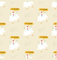seamless pattern with cute dancing chickens vector image