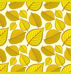 Seamless pattern with elm and linden autumn leaves vector
