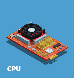 semiconductor isometric poster vector image