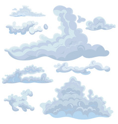 set clouds different shapes design elements vector image