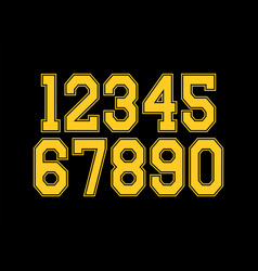 set numbers with yellow and black typography vector image