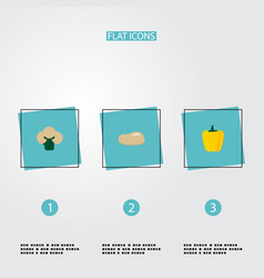 Set of berry icons flat style symbols with potato vector