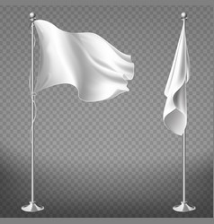 set of blank white flags on steel poles vector image