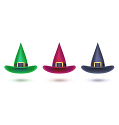 set of witch hat colored design elements for vector image