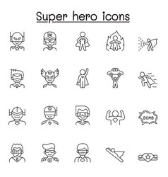 set super hero related line icons contains vector image