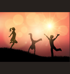 Silhouettes of children playing in sunset vector