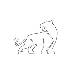 single continuous line drawing elegant leopard vector image