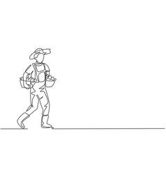 single continuous line drawing male farmer vector image