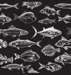 Sketch - fish pattern vector