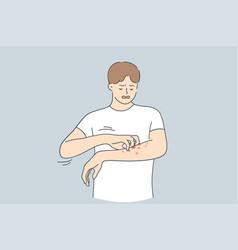 Skin allergy dermatitis eczema concept vector