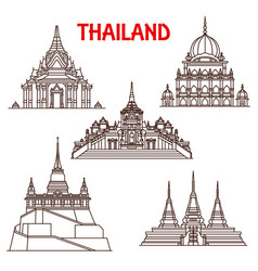 Thailand bangkok temples line icons vector