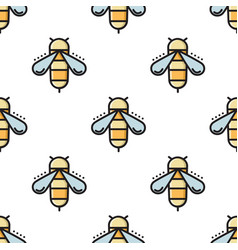 thin line bee seamless pattern vector image