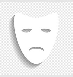 tragedy theatrical masks white icon with vector image