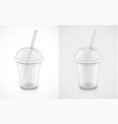 Transparent plastic cup vector