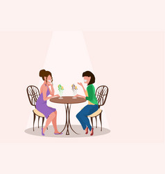 two women friends sitting cafe and eating ice vector image