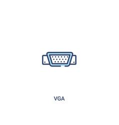 Vga concept 2 colored icon simple line element vector