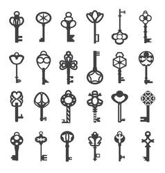 Vintage antique key collection set old vector