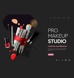web page design template for makeup studio course vector image