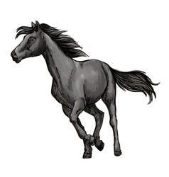 White horse freely running portrait vector