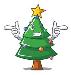 Wink christmas tree character cartoon vector