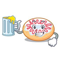 With juice jelly donut mascot cartoon vector