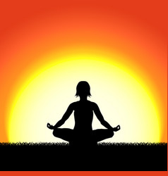 Yoga lotus pose black silhouette on sunset vector