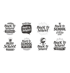 Back to school set icons Handwritten lettering vector image vector image
