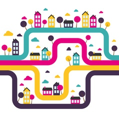 Background with abstract town vector image