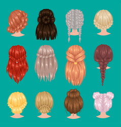 female woman head hairstyle back side portrait vector image vector image