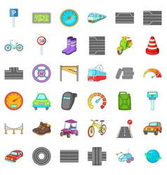 hard traffic icons set cartoon style vector image vector image